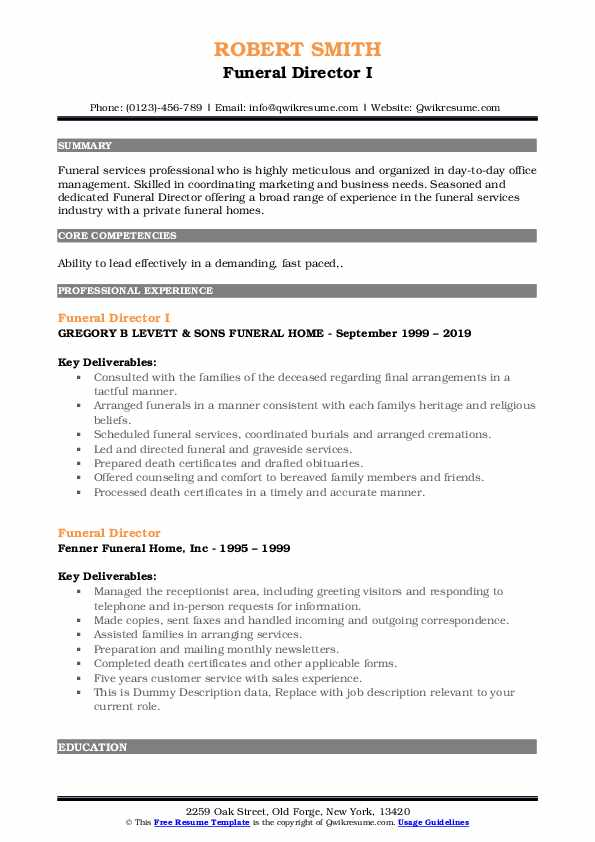 funeral director resume samples qwikresume home administrative assistant pdf free Resume Funeral Home Administrative Assistant Resume