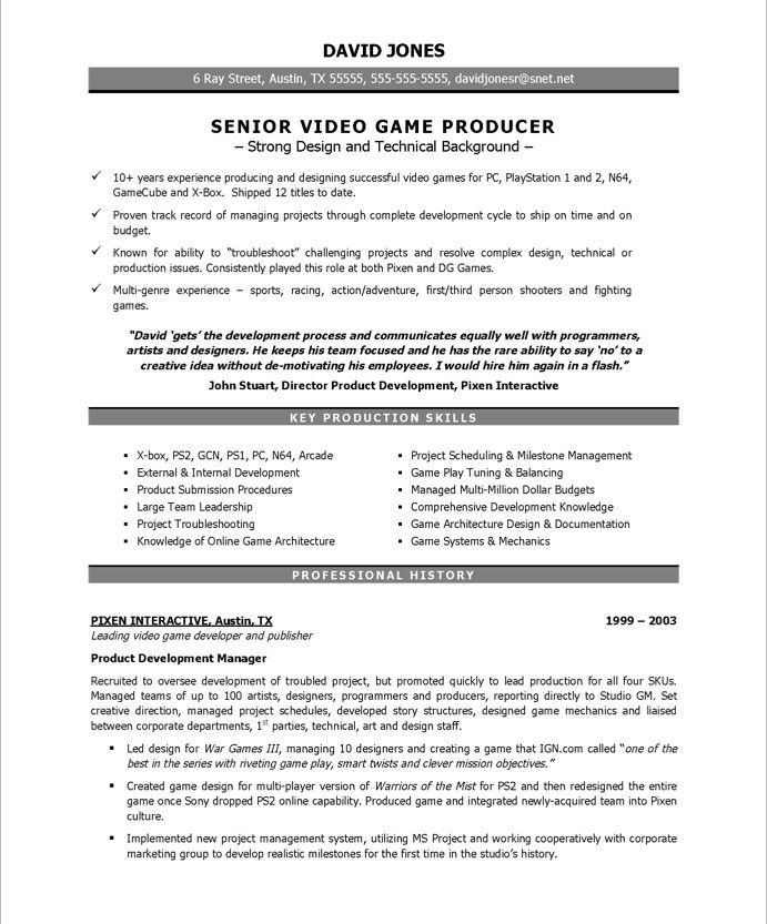 game producer free resume samples writing template skills and abilities for medical Resume Video Game Resume Template