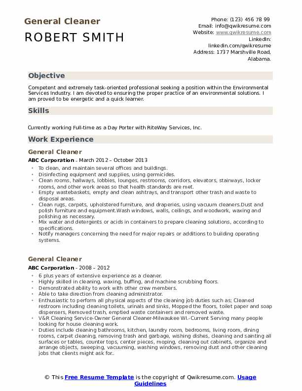 general cleaner resume samples qwikresume cleaning services pdf personal template free Resume Cleaning Services Resume