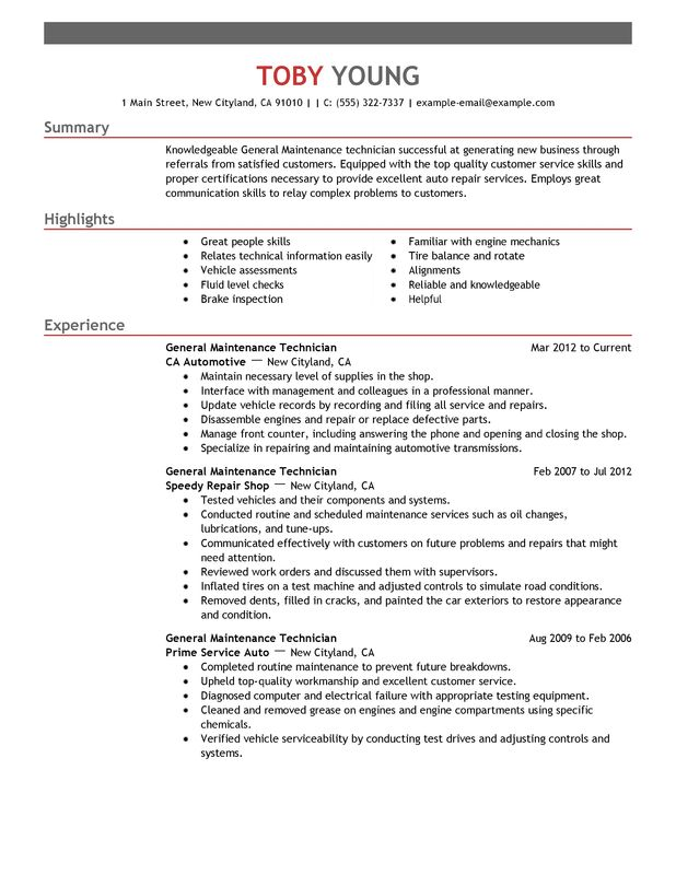 general maintenance technician resume examples free to try today myperfectresume summary Resume Technician Summary For Resume