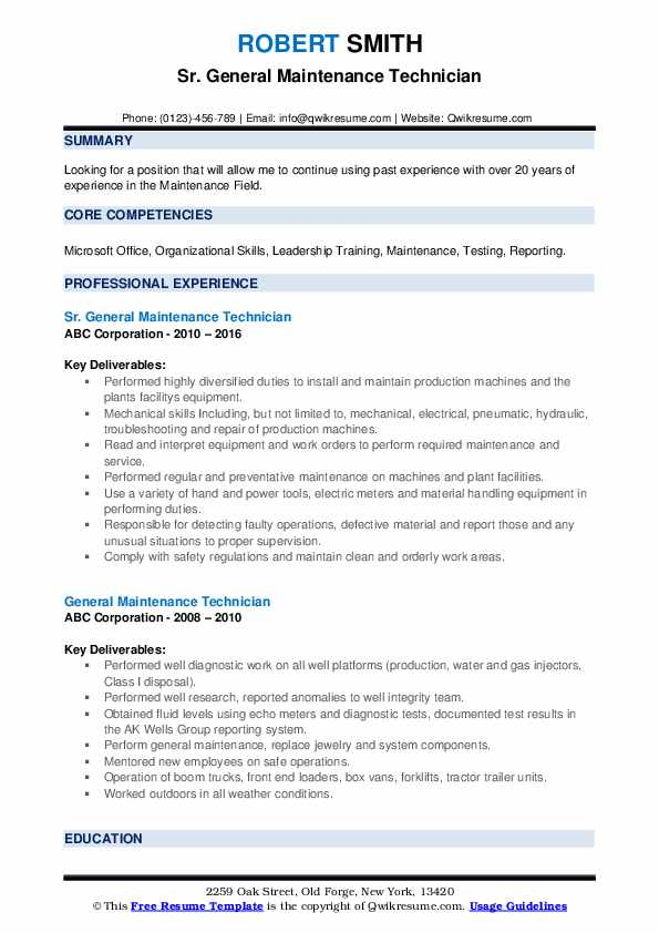 general maintenance technician resume samples qwikresume examples pdf contractor monster Resume General Maintenance Resume Examples