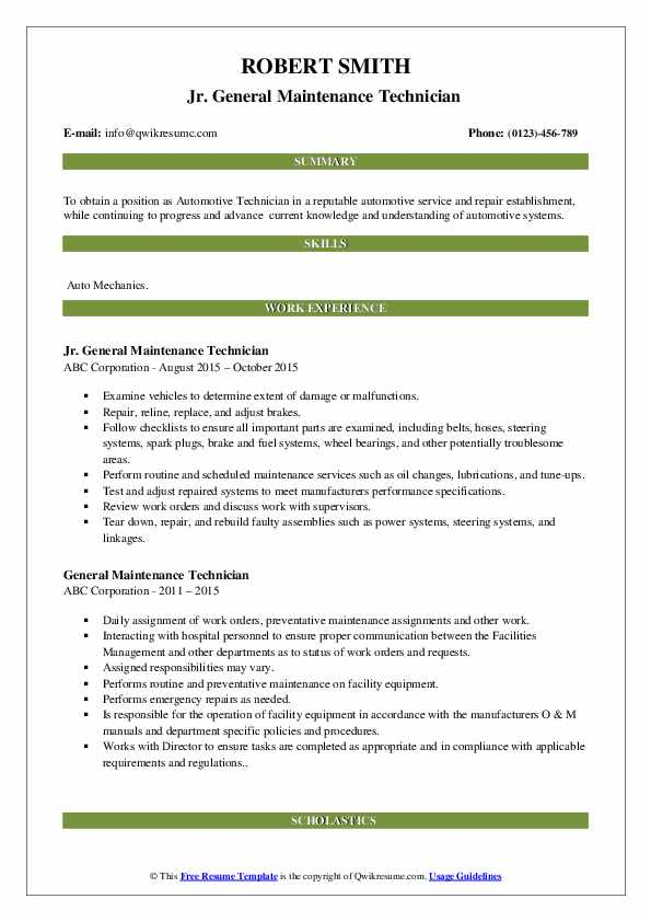 general maintenance technician resume samples qwikresume service pdf some examples of Resume General Service Technician Resume