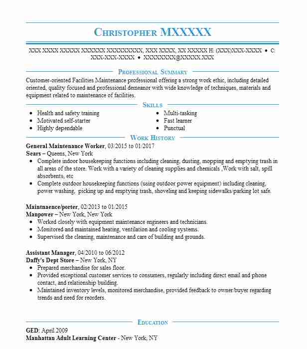 general maintenance worker resume example resumes livecareer examples capital markets Resume General Maintenance Resume Examples
