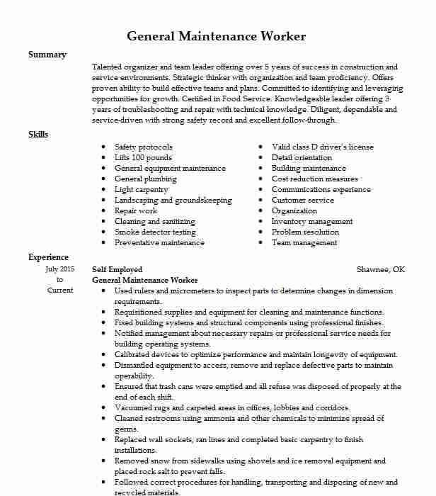general maintenance worker resume example resumes livecareer examples construction Resume General Maintenance Resume Examples
