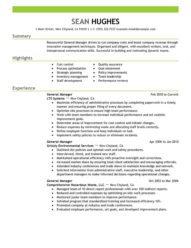 general manager resume examples created by pros myperfectresume template management Resume General Resume Template