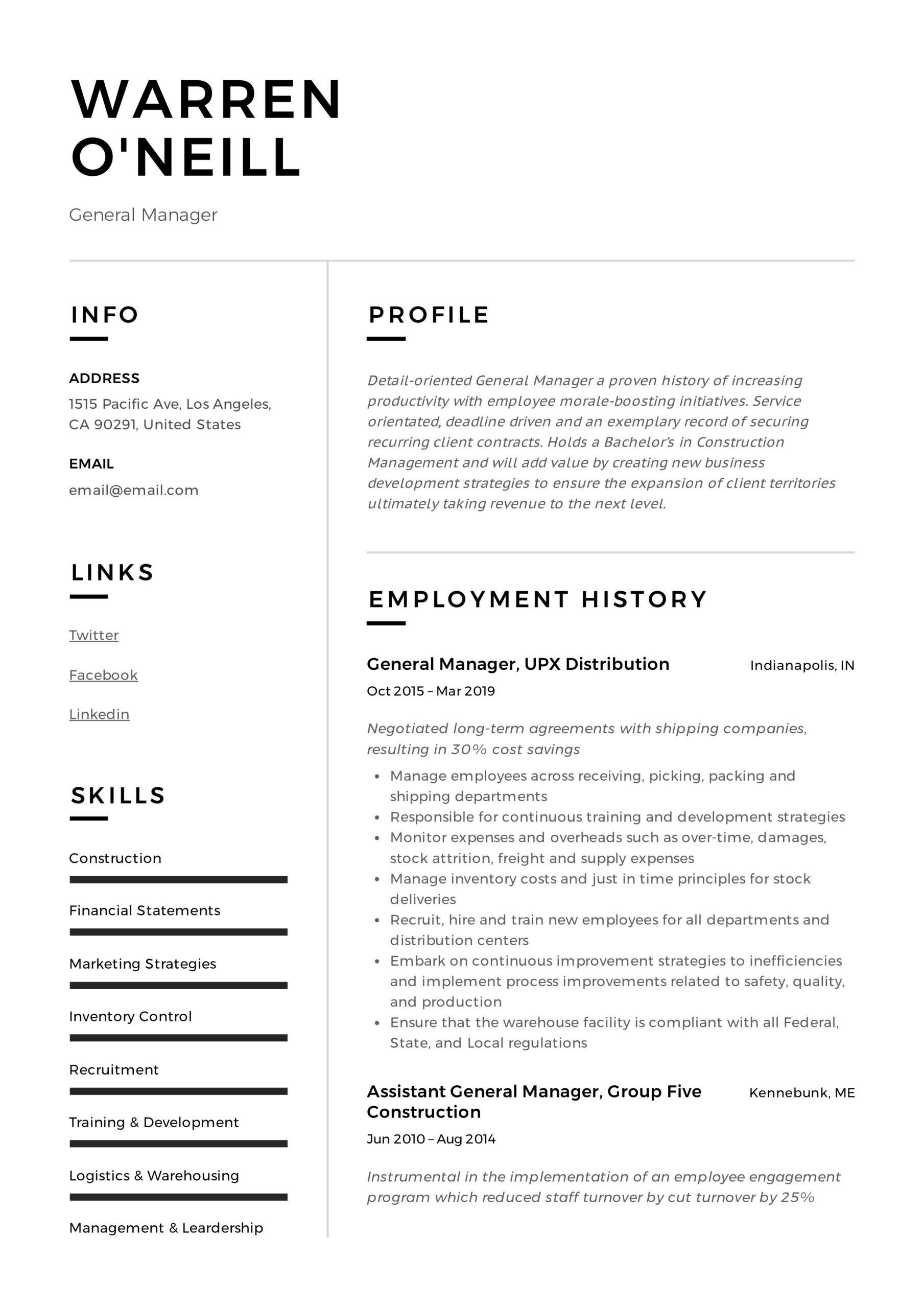 general manager resume writing guide examples pdf template neill furniture installer sap Resume General Resume Template