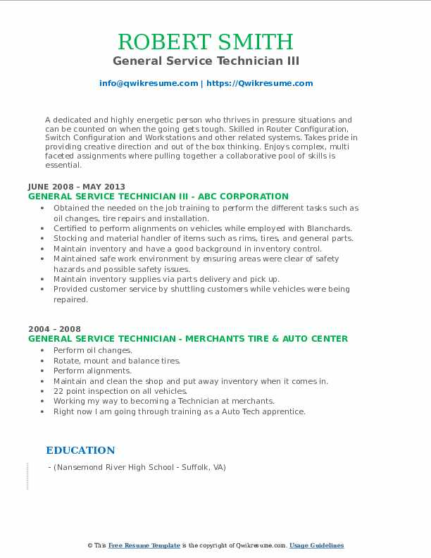 general service technician resume samples qwikresume pdf aramark itil certified examples Resume General Service Technician Resume