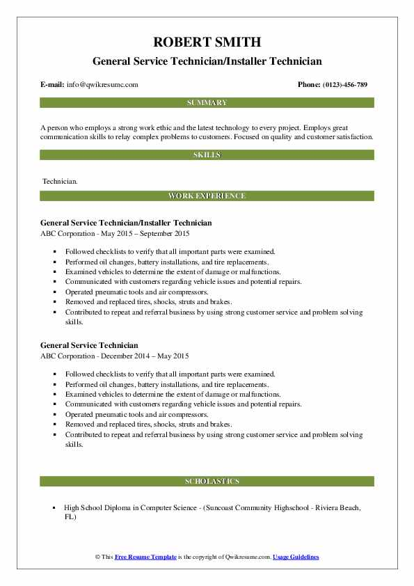 general service technician resume samples qwikresume pdf python entry level architectural Resume General Service Technician Resume