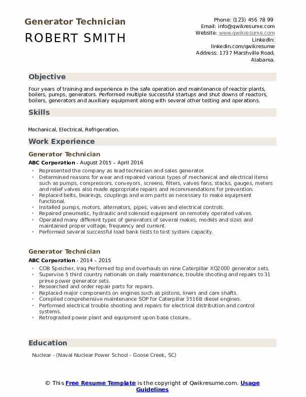 generator technician resume samples qwikresume service engineer pdf mta nyc template for Resume Generator Service Engineer Resume