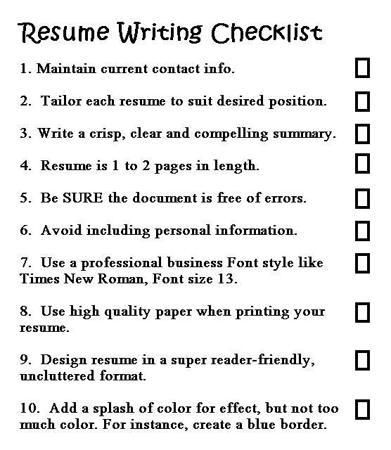 good resume writing made easy checklist business process specialist office administrator Resume Resume Writing Checklist