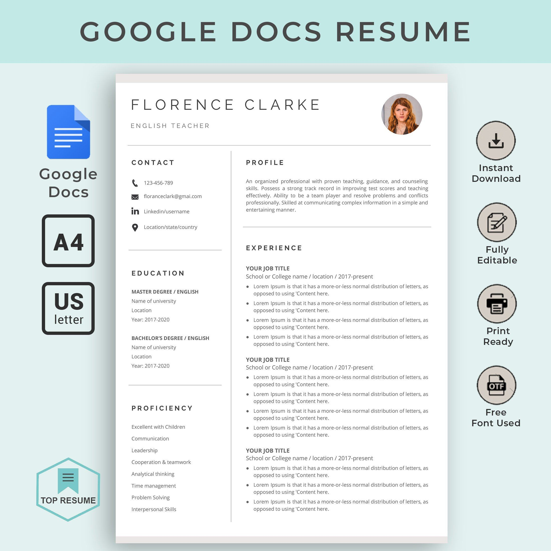 google docs resume template instant dow downloadable teacher college military police Resume Google Docs Resume Template Download
