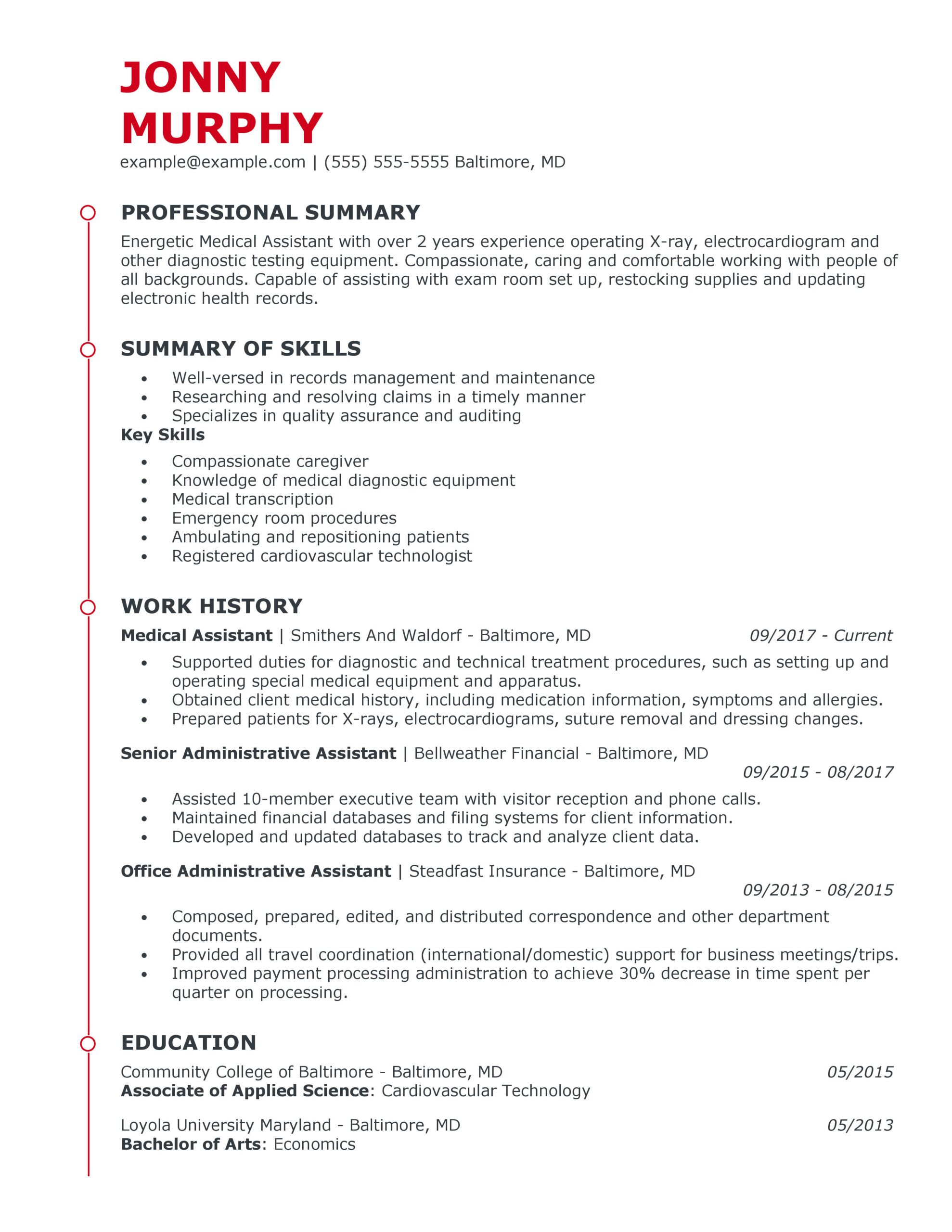 great healthcare support resume examples for myperfectresume medical assistant esteemed Resume Medical Resume Examples