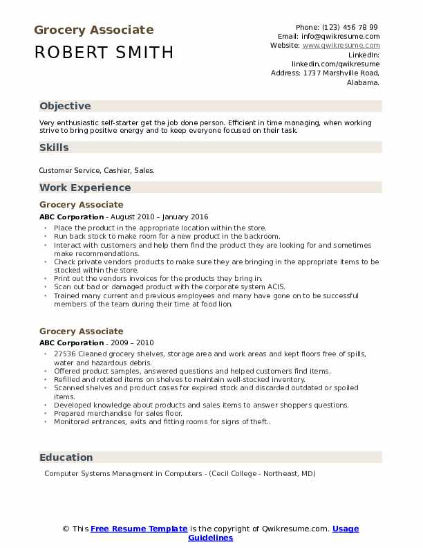 grocery associate resume samples qwikresume pdf brief description of yourself example Resume Grocery Associate Resume