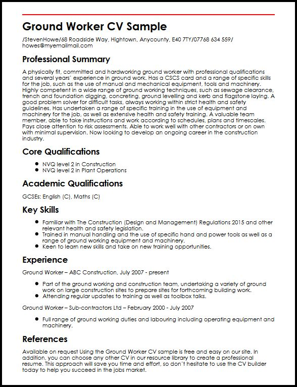 ground worker cv example myperfectcv resume builder examples sample professional writing Resume Resume Builder Examples