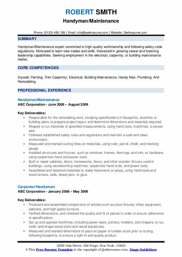 handyman resume samples qwikresume another word for pdf markdown producer examples mba Resume Another Word For Handyman For Resume