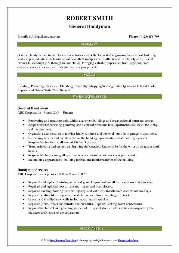 handyman resume samples qwikresume another word for pdf objective any type of job data Resume Another Word For Handyman For Resume