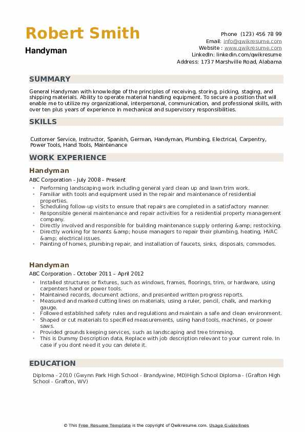 handyman resume samples qwikresume another word for pdf producer examples objective any Resume Another Word For Handyman For Resume