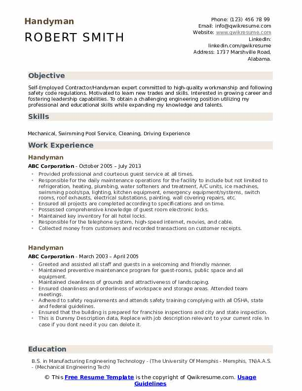 handyman resume samples qwikresume self employed template pdf results oriented copy Resume Self Employed Resume Template
