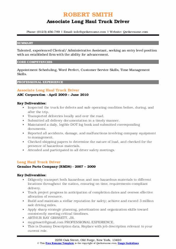 haul truck driver resume samples qwikresume sample pdf college student for summer Resume Long Haul Truck Driver Resume Sample
