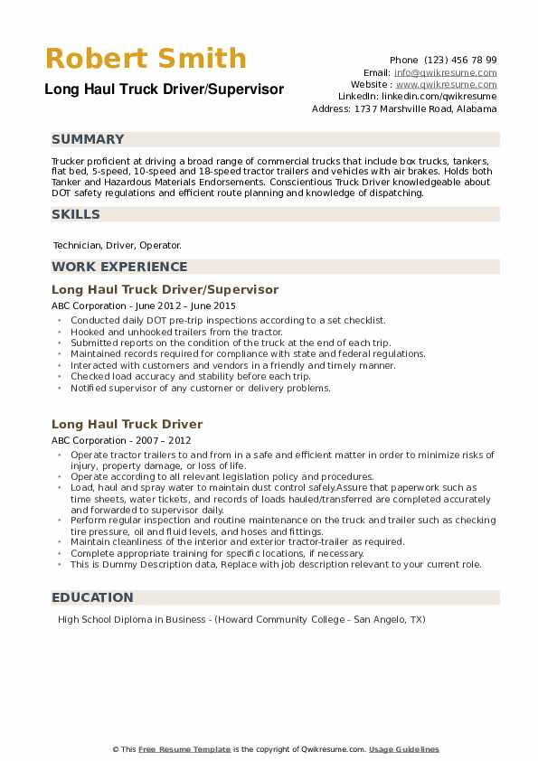 haul truck driver resume samples qwikresume sample pdf recruitment manager tutor best for Resume Long Haul Truck Driver Resume Sample
