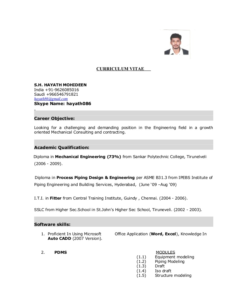 hayath mechanical engineer cv fitter resume conversion gate01 thumbnail skills and Resume Mechanical Fitter Resume