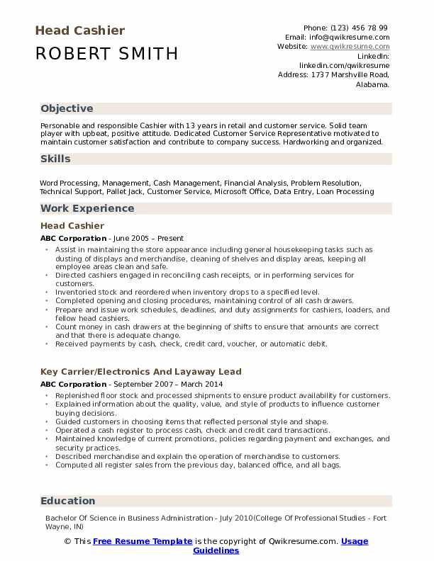 head cashier resume samples qwikresume duties and responsibilities pdf introduction Resume Cashier Duties And Responsibilities Resume