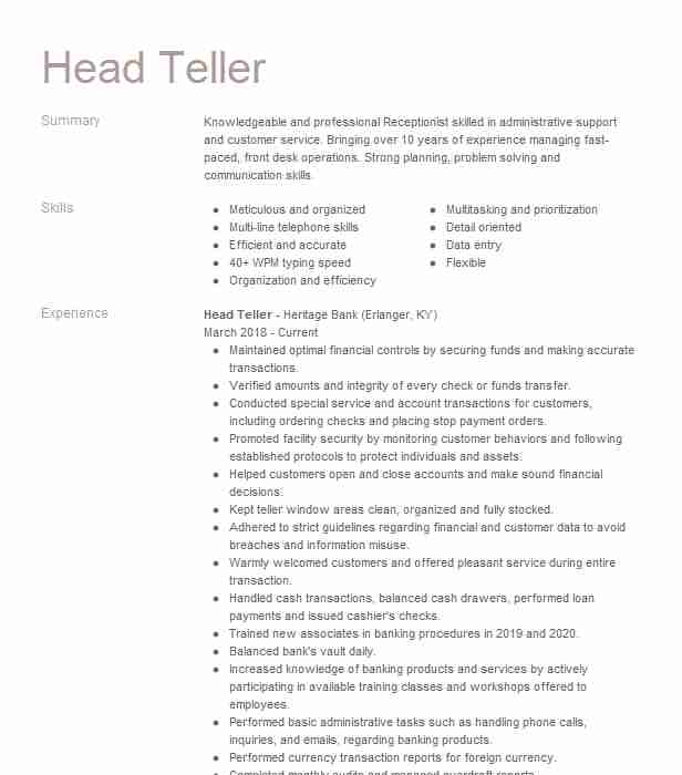 head resume example banking resumes livecareer description for bank fatima film complet Resume Resume Description For Bank Teller