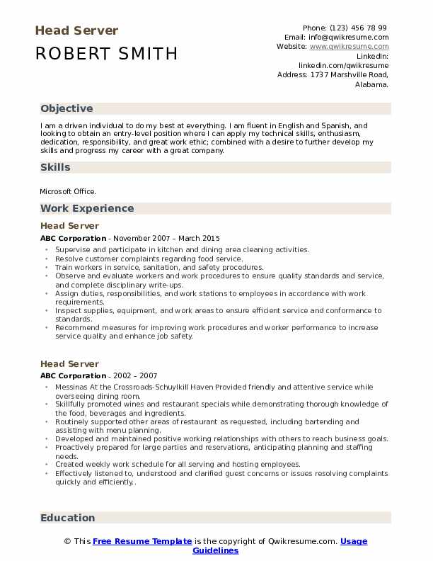 head server resume samples qwikresume entry level pdf verbiage retail assistant sample Resume Entry Level Server Resume
