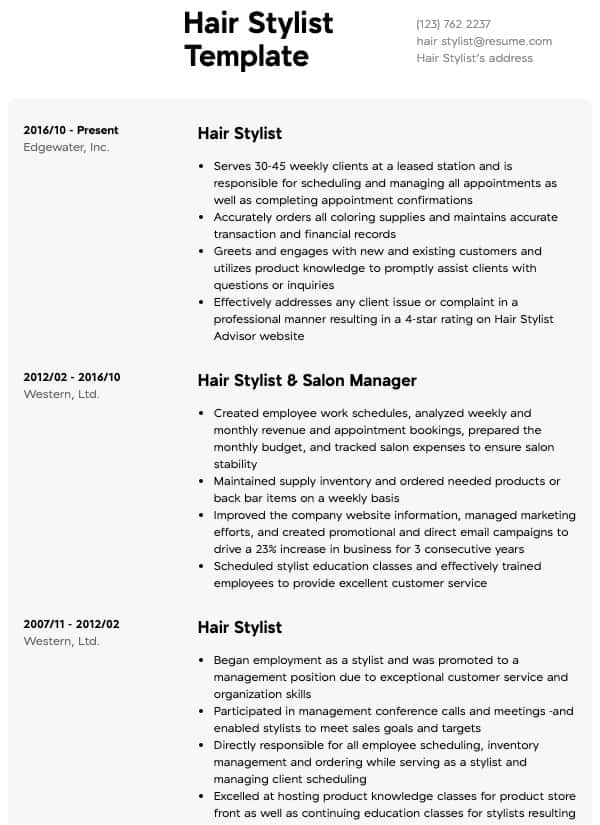 health and beauty resumes resume samples all experience levels continuing education on Resume Continuing Education On Resume