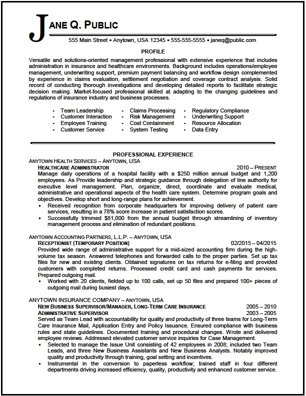 healthcare administrator resume sample the clinic summary examples administrator01 Resume Resume Summary Examples Healthcare