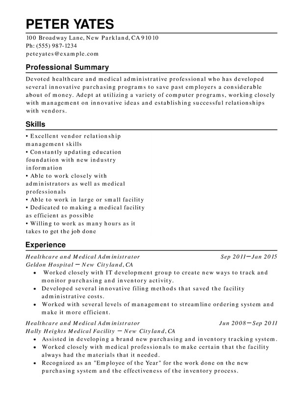 healthcare medical chronological resume samples examples format templates help summary Resume Resume Summary Examples Healthcare