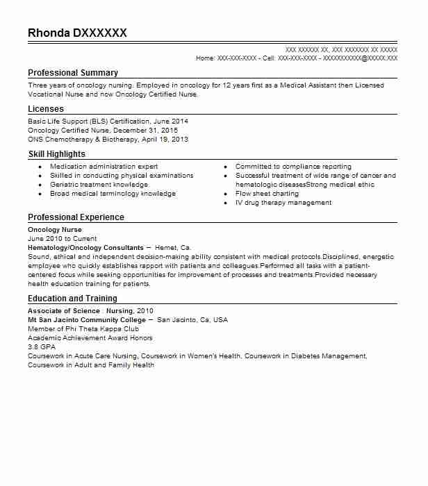 hematology oncology nurse resume example children hospitals and clinics of center for Resume Oncology Nurse Resume Objective