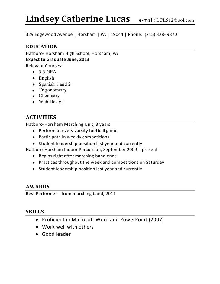 high school student resume best template gallery job first format builder for ansible Resume Resume Builder For First Job