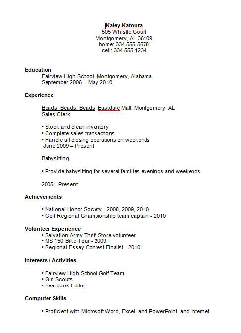 high school student resume example job examples first for brand executive sample fbla kid Resume Job Resume For High School Student