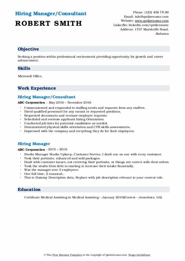 hiring manager resume samples qwikresume sample objective for any position pdf business Resume Sample Objective For Resume For Any Position