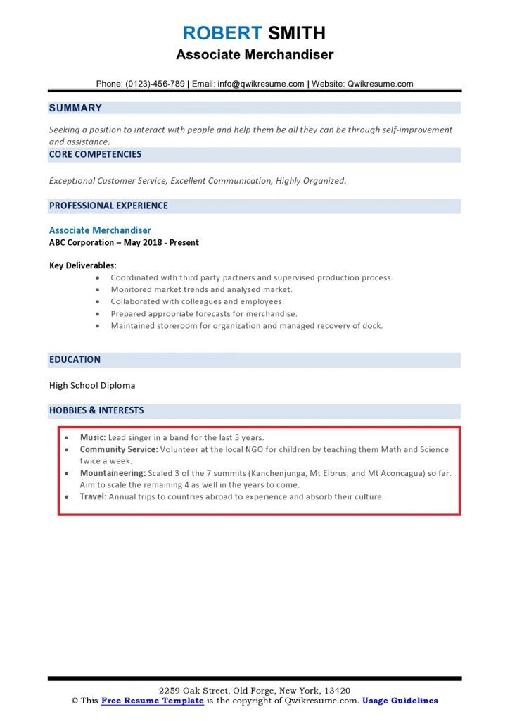 hobbies and interests on resume to examples page0001 725x1024 business owner objective Resume Hobbies And Interests Resume