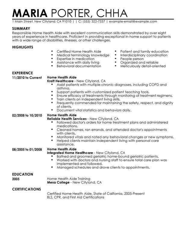 home health aide resume examples free to try today myperfectresume healthcare sample Resume Home Health Aide Resume Examples