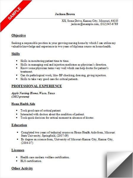 home health aide resume sample examples for factory job simple format teacher hobbies Resume Home Health Aide Resume