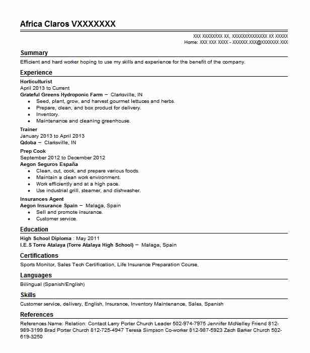 horticulturist resume example agriculture resumes livecareer horticulture template Resume Horticulture Resume Template