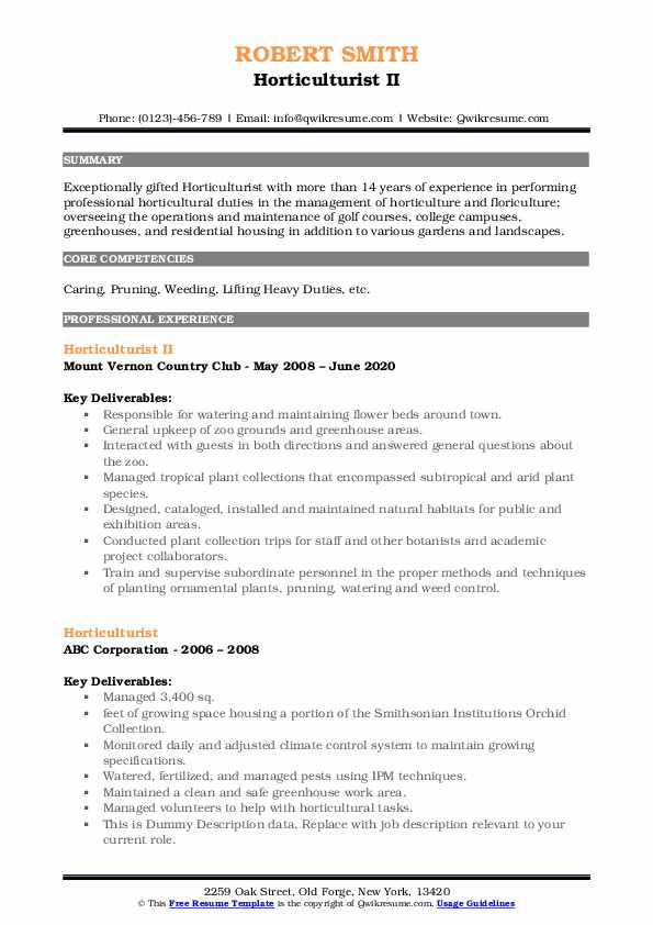 horticulturist resume samples qwikresume horticulture template pdf for teenager without Resume Horticulture Resume Template