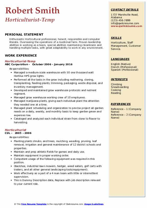 horticulturist resume samples qwikresume horticulture template pdf rate writing services Resume Horticulture Resume Template
