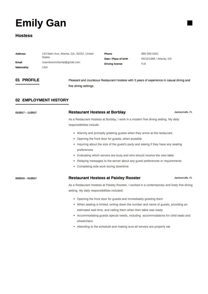 hostess resume guide examples free downloads server and emily gan template of data Resume Server And Hostess Resume