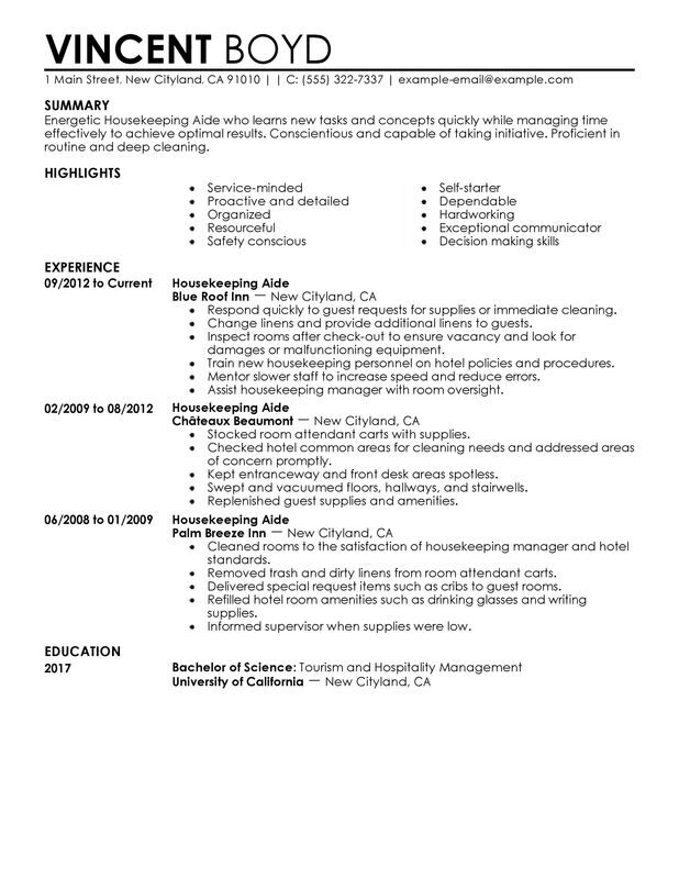 housekeeping aide resume examples created by pros myperfectresume manager hotel and Resume Housekeeping Manager Resume