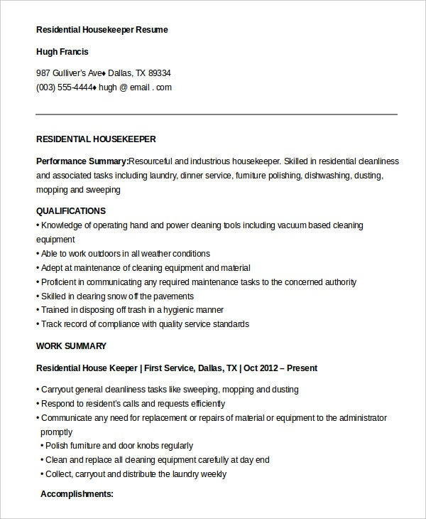 housekeeping resume example free word pdf documents premium templates cleaning services Resume Cleaning Services Resume