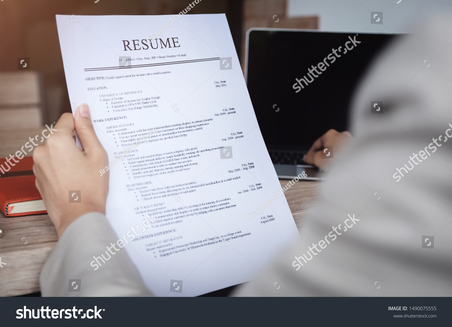 hr audit resume applicant paper interview business finance stock image for photo and with Resume Resume Paper For Interview