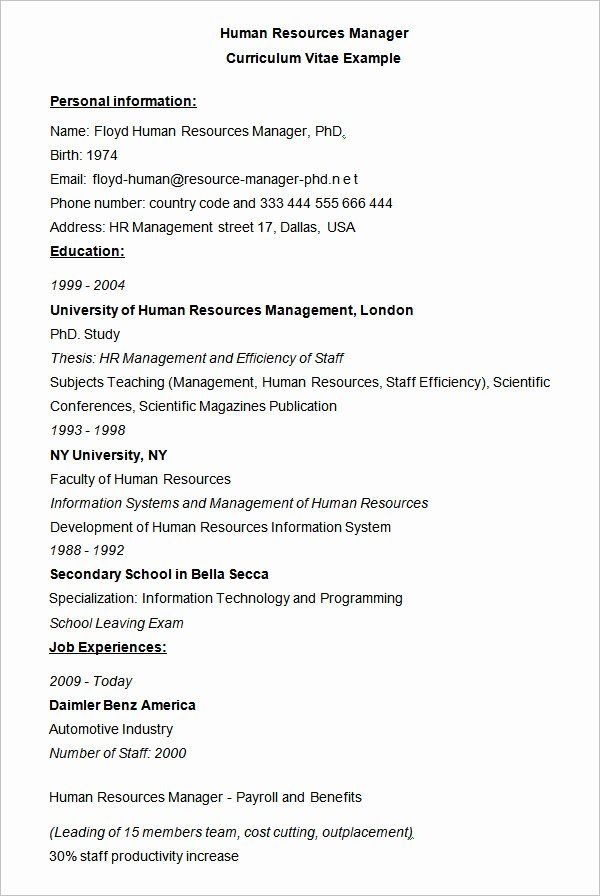 human resource manager resume example awesome hr templates resources examples management Resume Resource Management Resume Example