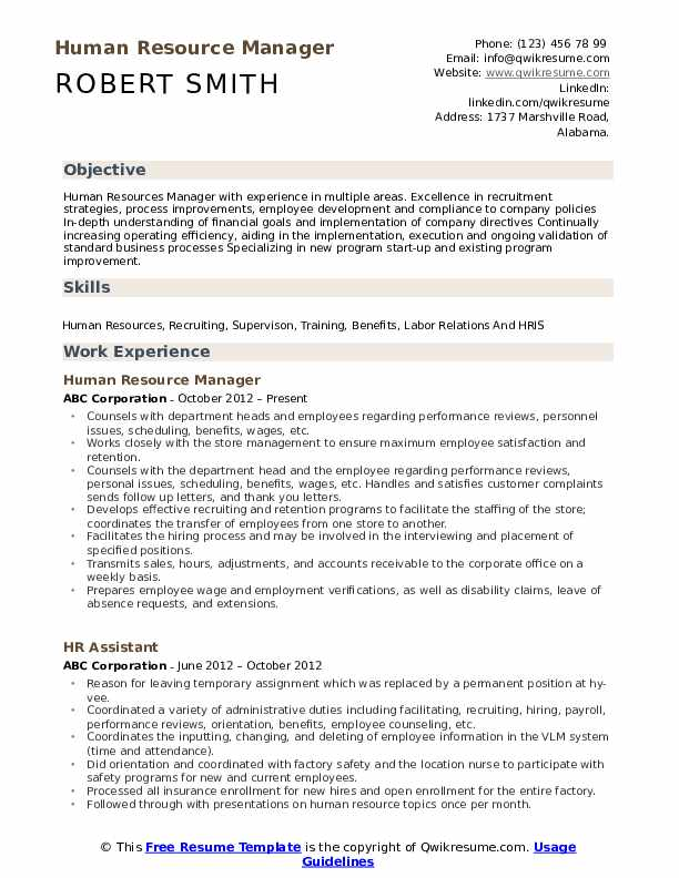 human resource manager resume samples qwikresume resources skills pdf fast food Resume Human Resources Resume Skills