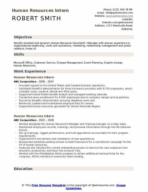 human resources intern resume samples qwikresume best objective for internship pdf front Resume Best Objective For Resume Internship