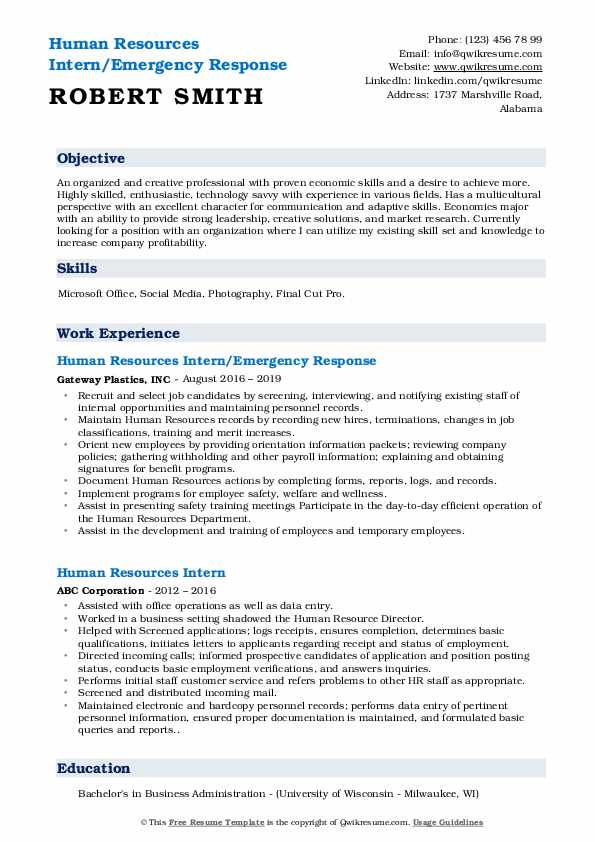 human resources intern resume samples qwikresume best objective for internship pdf Resume Best Objective For Resume Internship