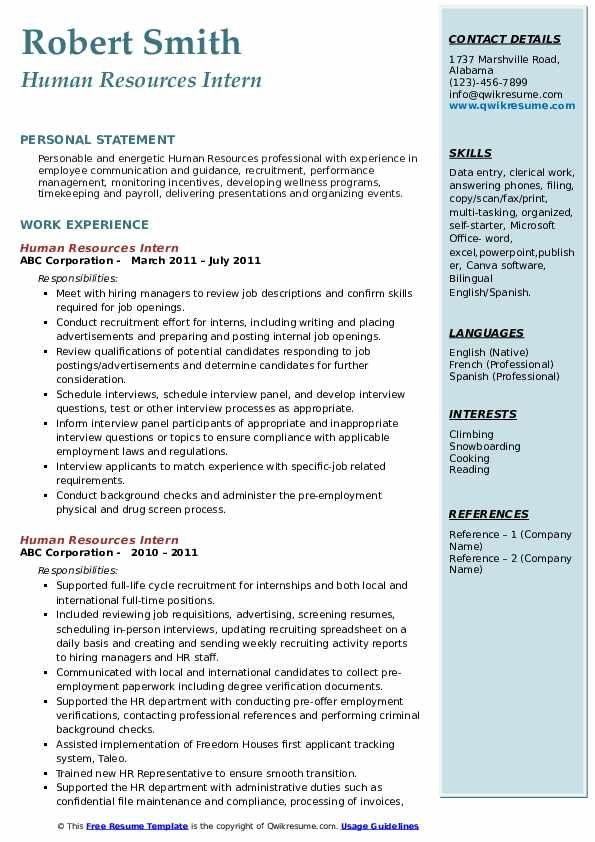human resources intern resume samples qwikresume internship examples skills former Resume Human Resources Resume Skills